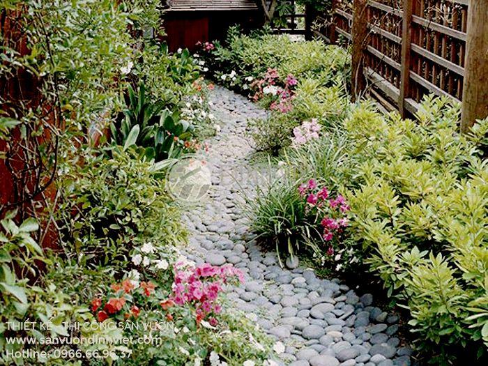 Tiểu cảnh sân vườn lối đi bằng đá