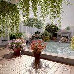 Mẫu phối cảnh thiết kế sân vườn đẹp biệt thự nhà Anh Quốc