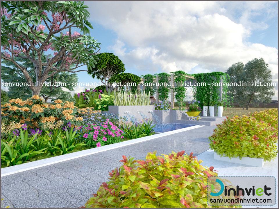 Mẫu sân vườn đẹp trước cổng
