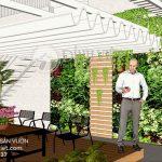 Thiết kế thi công cảnh quan đẹp sân vườn trên sân thượng nhà biệt thự