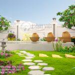 Phối cảnh mẫu thiết kế sân vườn hồ nước đẹp cho không gian thư giản