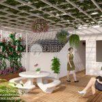 Mẫu phối cảnh thiết kế sân vườn sân thượng đẹp nhà biệt thự Anh Phước