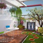 Thiết kế hình ảnh vườn hoa đẹp trên sân thượng nhà biệt thự phố
