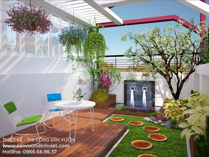 Thiết kế sân vườn sân thượng nhà phố với vườn hoa đẹp