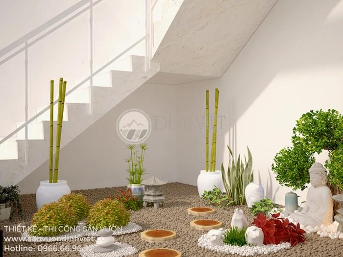 Thiết kế tiểu cảnh sân vườn cầu thang